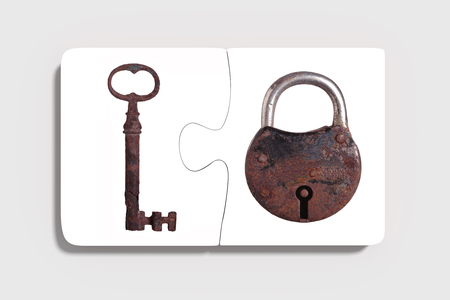rusty padlock: 3d rendering of Two three-dimensional pieces of puzzle with rusty padlock and key on grey background. From above. Isolated.