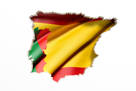 iberian: 3d rendering  of bright colorful Iberian Peninsula map isolated in white wall with Spain and Portugal flags.