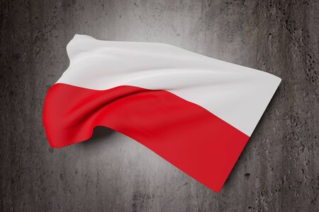 polish flag: 3d rendering of a close-up of volume red and white Polish flag on a dirty background