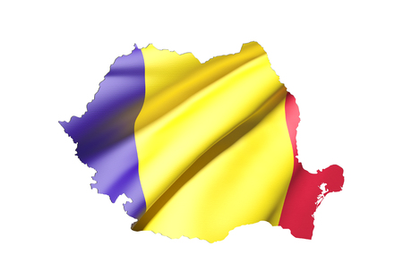 national geographic: 3d rendering of Romania map and flag on white background. Stock Photo
