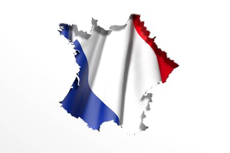 national geographic: 3d rendering of France map and flag on white background. Stock Photo
