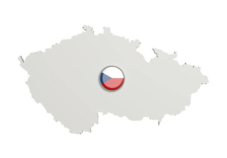 boundaries: 3d rendering of Czech Rep boundaries and button with flag on white background.