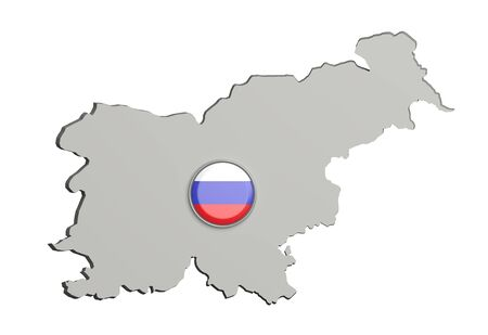 boundaries: 3d rendering of Slovenia boundaries and button with slovenian flag on white background.