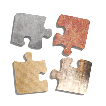 puzzle set: 3d rendering  of puzzle set made of stone, paperboard and granite pieces