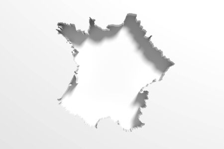 national geographic: 3d rendering of a France map on white background. Stock Photo