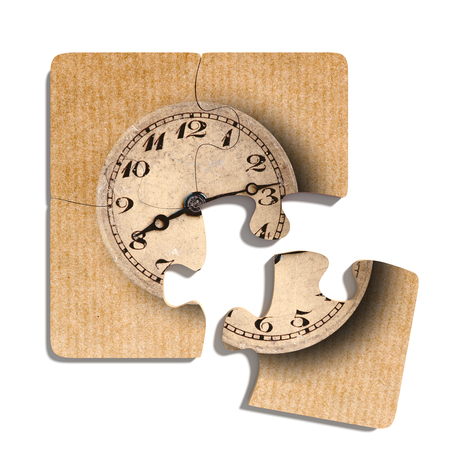 oldfashioned: 3d rendering of close-up of four puzzle pieces with print of old-fashioned shabby clock on paper background Stock Photo