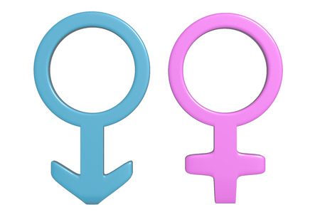man close up: 3d rendering of men and women symbols on white background.Isolated