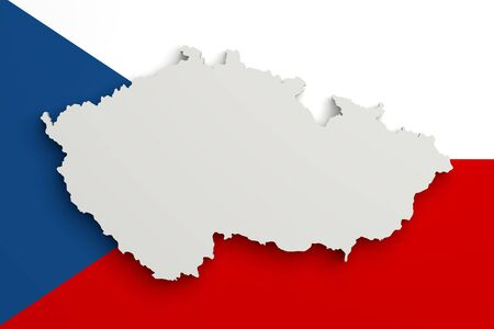 rep: 3d rendering of Czech Rep map and flag on background.