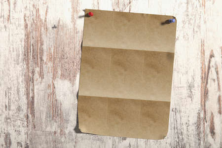 ruled paper: 3d rendering of a lined page pinned on shabby wooden plank