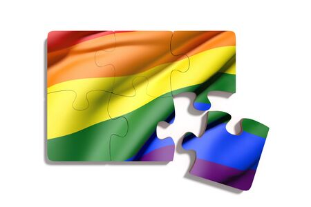 red flag up: 3d rendering of bright colorful Gay flag on white background Stock Photo