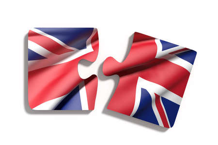 europe closeup: 3d rendering of isolated puzzle UK flag on white background Stock Photo