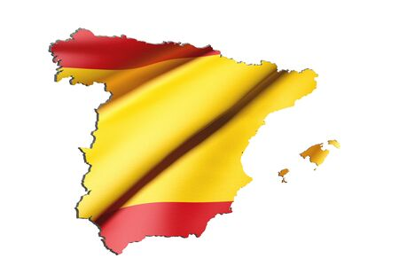 national geographic: 3d rendering of Spain map and flag on white background.