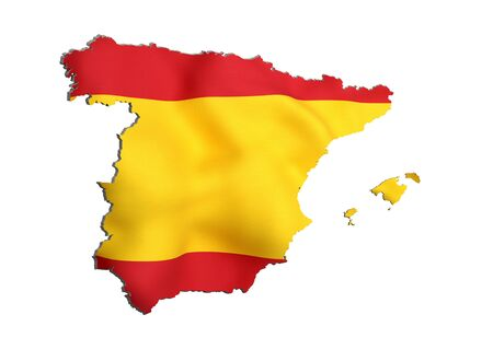 frontage: 3d rendering of Spain map and flag on background. Stock Photo
