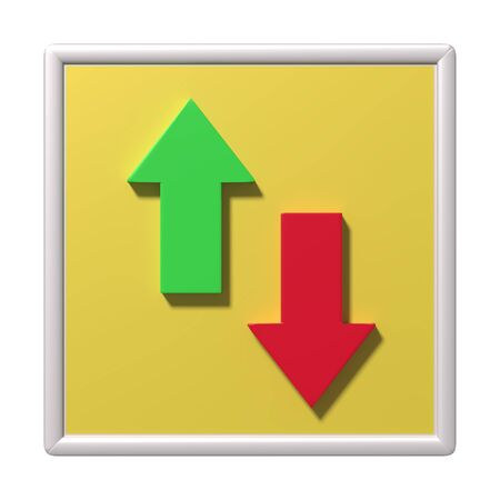 different directions: 3d rendering illustration of red and green arrows in different directions in yellow frame Stock Photo