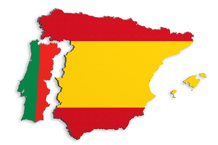 topographical: 3d rendering  of bright colorful Iberian Peninsula map isolated in white wall with Spain and Portugal flags.
