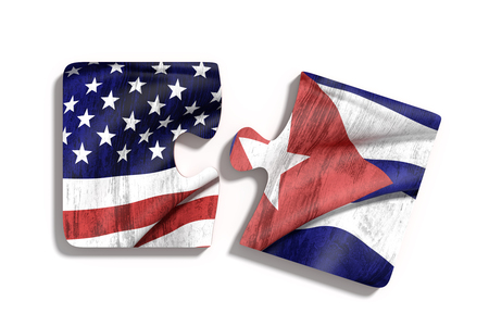 red flag up: 3d rendering of puzzle pieces with USA and Cuba flags Stock Photo