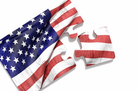 puzzle set: 3d rendering of close-up of puzzle set with american flag print on white background. Isolated Stock Photo