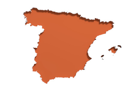 iberian: 3d rendering of a Spain map on white background. Stock Photo