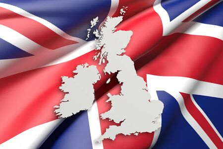 frontage: 3d rendering of United Kingdom map and flag on background. Stock Photo