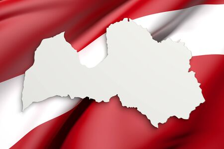 frontage: 3d rendering of Latvia map and flag on background. Stock Photo