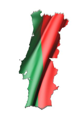 frontage: 3d rendering of Portugal map and flag on white background.