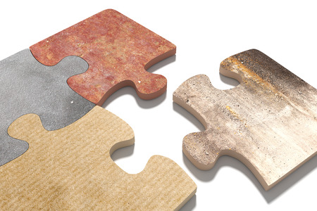 3d rendering  of puzzle set made of stone, paperboard and granite pieces