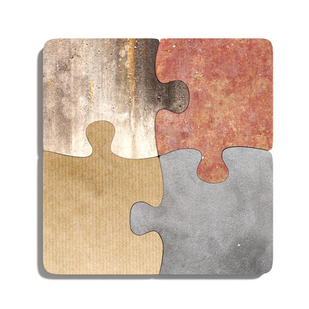 granite: 3d rendering  of puzzle set made of stone, paperboard and granite pieces