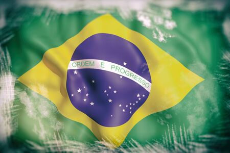 foreign national: 3d rendering of an old and dirty brazil flag Stock Photo