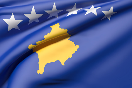kosovo: 3d rendering of a close-up of a Kosovo flag waving