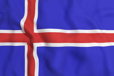 iceland flag: 3d rendering of an Iceland flag waving