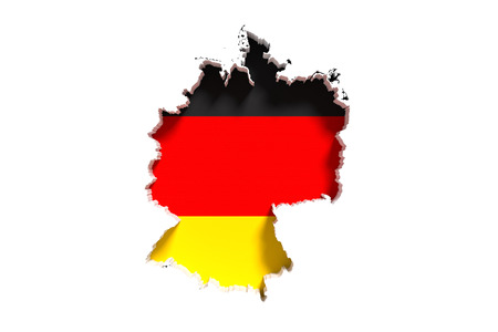 frontage: 3d rendering of Germany map and flag on white background.