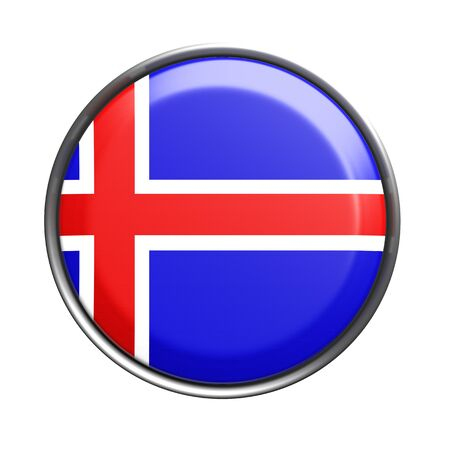 europe closeup: 3d rendering of Iceland button on white background. Stock Photo