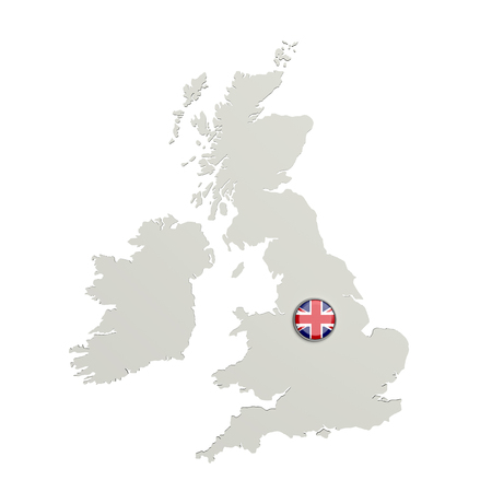 boundaries: 3d rendering of United Kingdom boundaries and button with flag on white background.