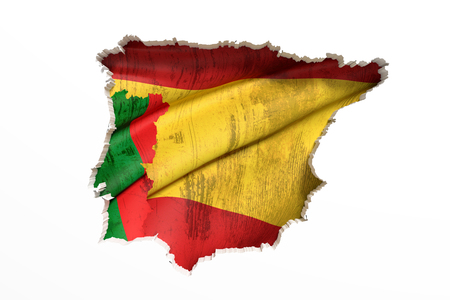 peninsula: 3d rendering  of bright colorful Iberian Peninsula map isolated in white wall with Spain and Portugal flags.