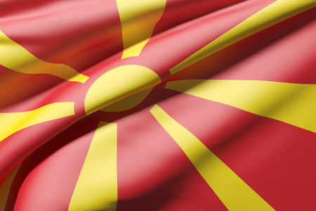 europe closeup: 3d rendering of a close-up of a Macedonia flag waving