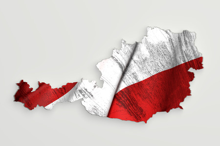 austria map: 3d rendering of Austria map and dirty flag on white background. Stock Photo