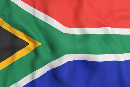 south africa flag: 3d rendering of a South Africa flag waving