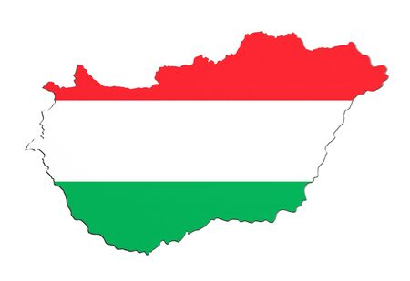 national geographic: 3d rendering of Hungary map and flag on background.