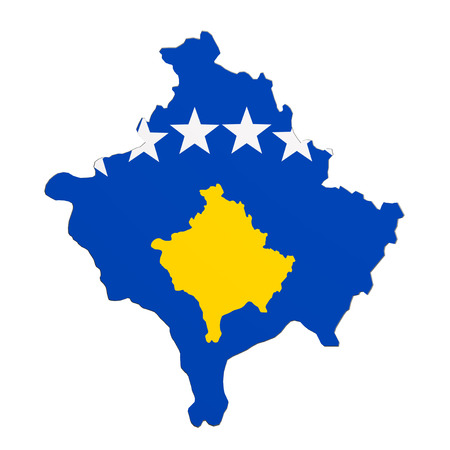 frontage: 3d rendering of Kosovo map and flag on white background. Stock Photo