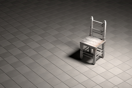 wooden chair: 3d rendering of one wooden chair on floor against of black background Stock Photo