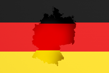 frontage: 3d rendering of Germany map and flag on background.