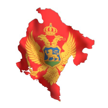 frontage: 3d rendering of Montenegro map and flag on white background.
