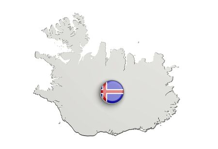 boundaries: 3d rendering of Iceland boundaries and button with flag on white background.