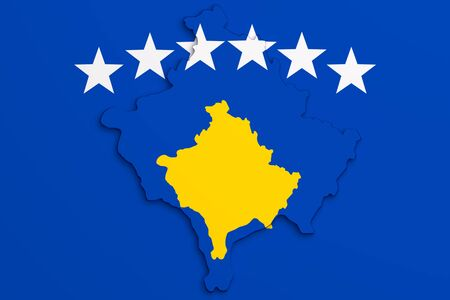 kosovo: 3d rendering of Kosovo map and flag.