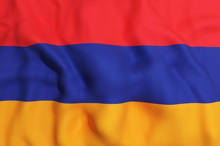 armenia: 3d rendering of an Armenia flag on a white background