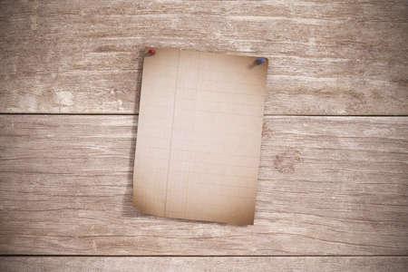 pinned: 3d rendering of an empty sheet pinned on wooden plank