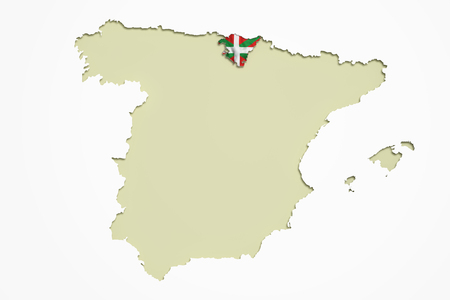 alava: 3d rendering contour of Spanish map with Basque Country.