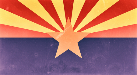 american history: 3d rendering of an old and dirty Arizona flag