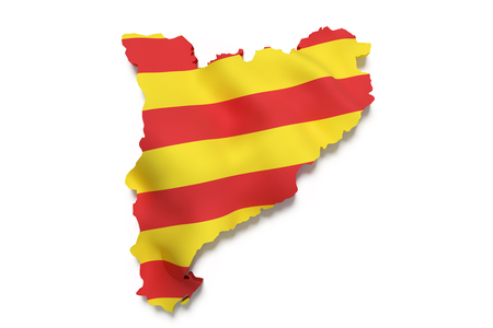 catalonia: 3d rendering of  map of Catalonia with Catalonia flag on background.