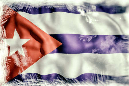 oppression: 3d rendering of an old and dirty Cuba flag